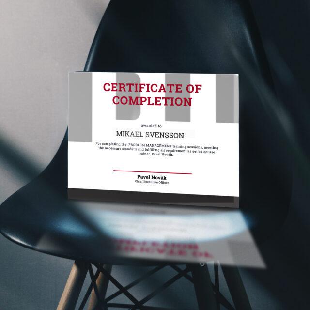Marketingové materiály - certifikát